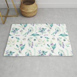 Modern jade green lavender watercolor floral Rug