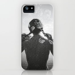 Cherry Blossom Girl Double Exposure - Black and White Holga Photograph iPhone Case