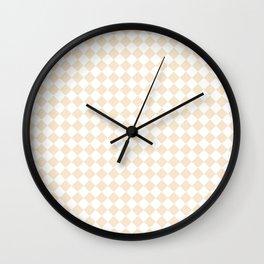 Small Diamonds - White and Champagne Orange Wall Clock