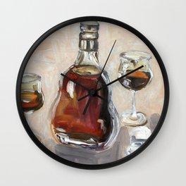 Cognac, alcohol, original oil painting Wall Clock