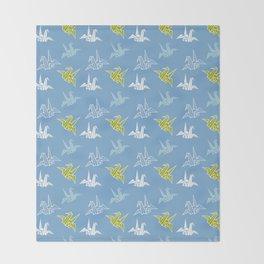 Blue Green Origami Crane Japanese Kimono Pattern Throw Blanket