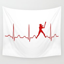 SOFTBALL WOMAN HEARTBEAT Wall Tapestry