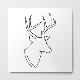 deer - single line art Metal Print
