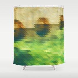 Green yellow triangle pattern, lake Shower Curtain