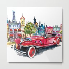 Red antique car Metal Print