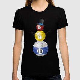Ditressed Pool Ball Snowman Billiards T-shirt