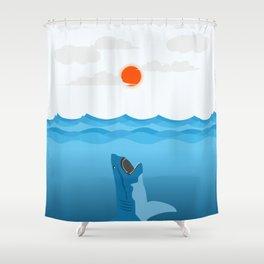 Shark Eats Sun #illustration #drawing #art Shower Curtain