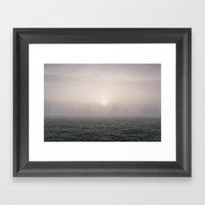 Sunrise through fog on a frosty morning. Norfolk, UK. Framed Art Print