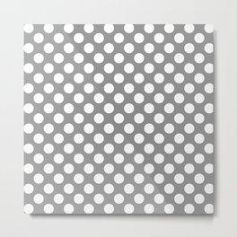 Grey and white polka dots Metal Print