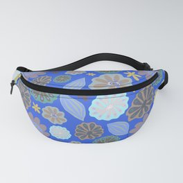 Bright Sky Blue Pods & Flowers Fanny Pack