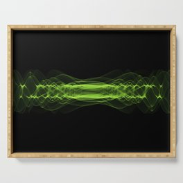 Plasma or high energy force concept. Green glowing energy waves on black Serving Tray