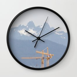 Mountains and cranes Vancouver Wall Clock
