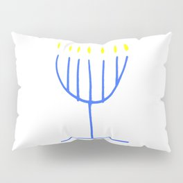blue menorah,Hanukkah,jewish,jew,judaism,Festival ofLights,feast of Dedication,jerusalem,lampstand Pillow Sham