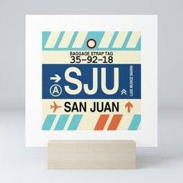 SJU San Juan • Airport Code and Vintage Baggage Tag Design Mini Art Print
