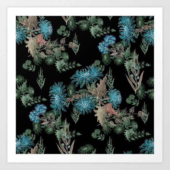 Blue chrysanthemums. Black . Watercolor . Art Print