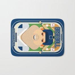 Baseball Blue Pinstripes - Rhubarb Pitchbatter - Josh version Bath Mat