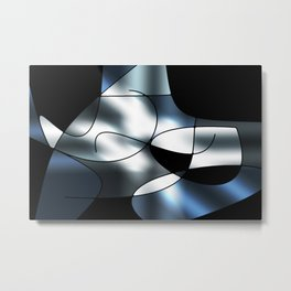 ABSTRACT CURVES #1 (Black, Grays & White) Metal Print