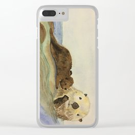 Mama and baby otters Clear iPhone Case