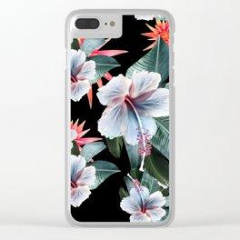 Tropical banana leaf, hibiscus vintage style, Hawaiian decor, retro Clear iPhone Case