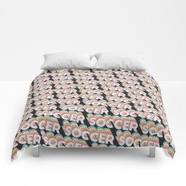 Soccer Trendy Rainbow Text Pattern (Black) Comforters