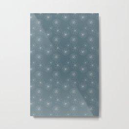Blue Succulent Rosettes Organic Pattern - Floral Line Drawing Metal Print