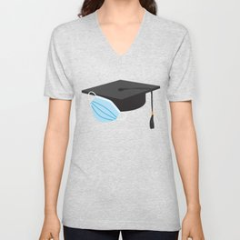 Class of 2020 Graduation - Black Graduation cap and Blue Face Mask Unisex V-Neck