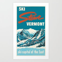 Stowe, Vermont Vintage Ski Poster Art Print