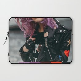 I Heart  Black Leather and Purple Hair Laptop Sleeve