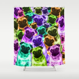 Colorful  Pug Pattern Shower Curtain