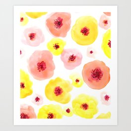 Pink and Yellow Watercolor Flowers Art Print