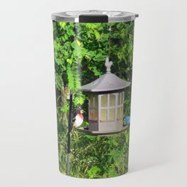 Red-Breasted Grosbeak & Indigo Bunting at Feeder Travel Mug