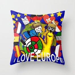 Monsieur Jac & Lily love Europe Throw Pillow