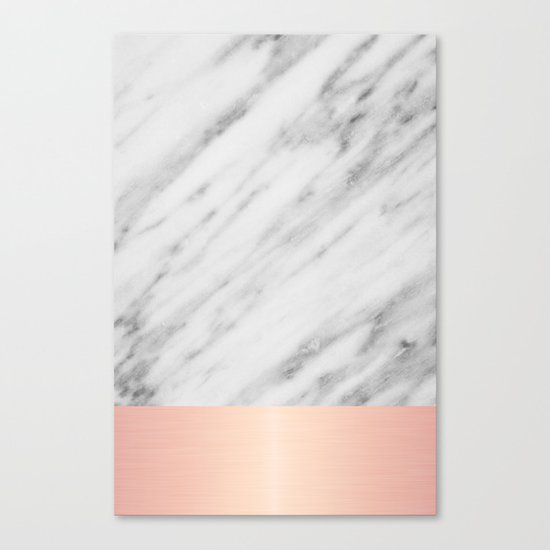 Real Italian Marble and Pink Canvas Print