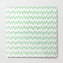 Mint Green Yabane Pattern Metal Print