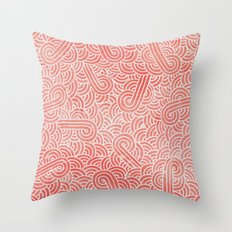 Peach echo and white swirls doodles Throw Pillow