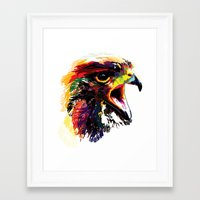 hawk Framed Art Prints featuring Hawk by Eric Bassika
