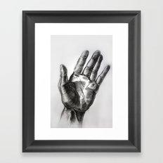 hand drawing hand Framed Art Print