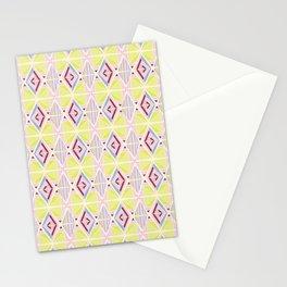 Hand Drawn Geometric Diamond Pattern Design - Burgundy and Yellow Stationery Cards