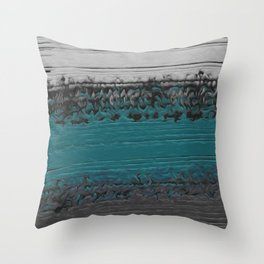Teal and Gray Abstract Throw Pillow