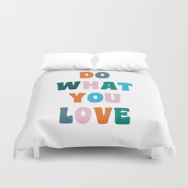 'Do What You Love' Colorful Retro Lettering Duvet Cover