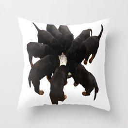 Nine Rottweiler Puppies Eating Vector Throw Pillow