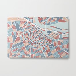 Amsterdam map, the Netherlands Metal Print