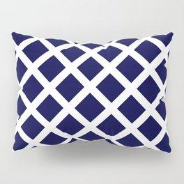 Dark Navy Blue and White Grill Pattern Pillow Sham