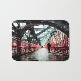 New York City Williamsburg Bridge in the Rain Bath Mat