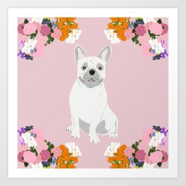 Dog Collection: Floral Frenchie Art Print