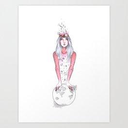 Collector, portrait of girl Art Print
