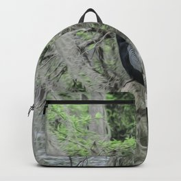 Black Bird Waiting in the Moss Backpack