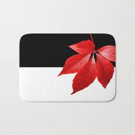 Red Leaf With Black & White Bath Mat