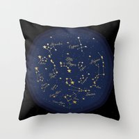 constellations Throw Pillows featuring Constellations by Cina Catteau
