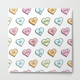 Sassy Valentines Candy Heart Pattern Metal Print